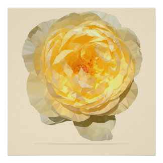 Yellow Rose Vintage Geometric Poster Print