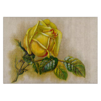 Yellow Rose Vintage Victorian Flower Cutting Board