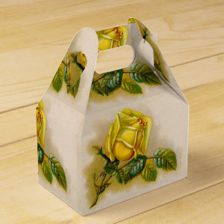 Yellow Rose Vintage Victorian Flower Favor Box
