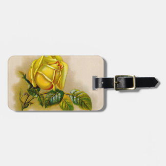 Yellow Rose Vintage Victorian Flower Luggage Tag