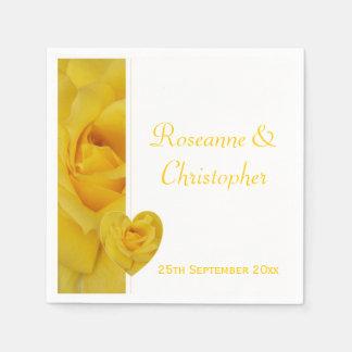 Yellow Rose Wedding Disposable Napkins