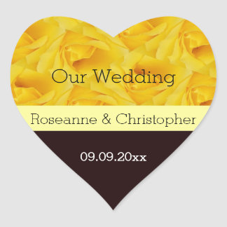 Yellow Rose Wedding Heart Sticker