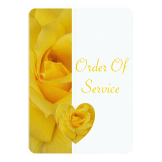 "Yellow Rose Wedding Order Of Service 5"" X 7"" Invitation Card"