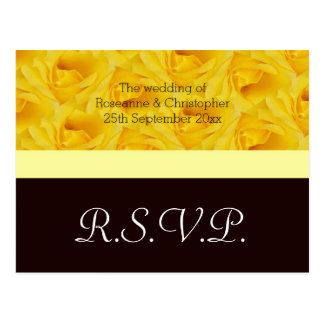 Yellow Rose Wedding RSVP Postcard
