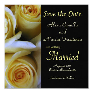 "Yellow Rose Wedding Save the Date Announcement Car 5.25"" Square Invitation Card"