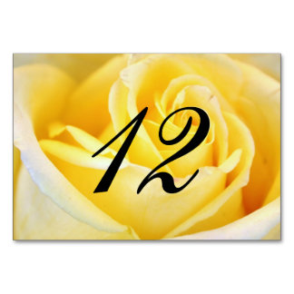 Yellow Rose Wedding Table Number