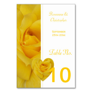 Yellow Rose Wedding Table Setting Card