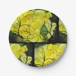Yellow Rose with black scroll design overlay. Paper Plate