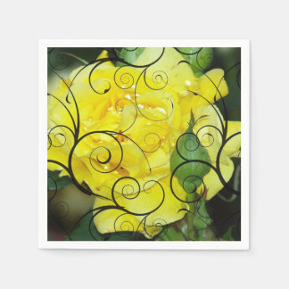 Yellow rose with black scroll overlay design. disposable napkins