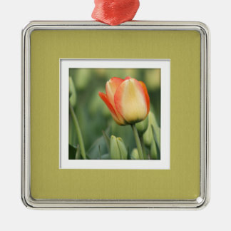 Yellow Rose with Faux Mat Silver-Colored Square Ornament