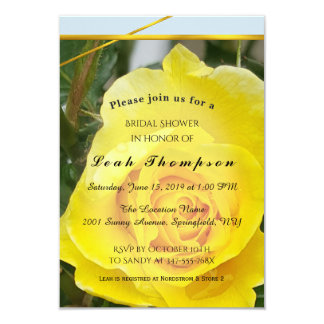 Yellow Rose with Gold Stripes Bridal Shower Card
