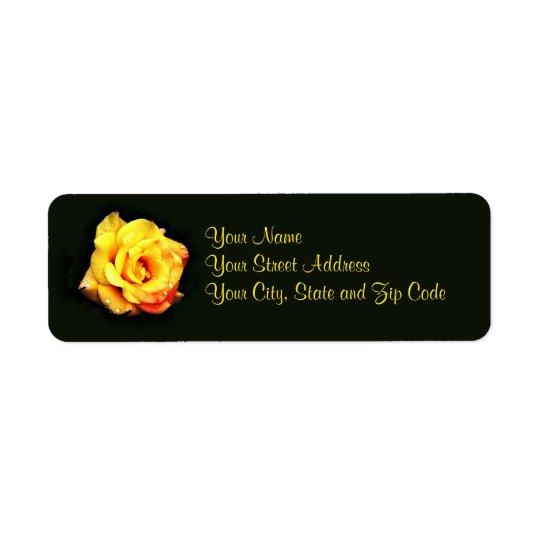 Yellow rose with rain drops return address label