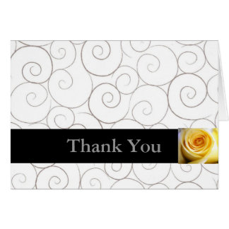 Yellow Rose with Swirls Thank You Card