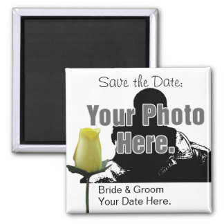 Yellow Rose with Your Photo Save the Date Magnet