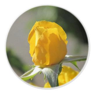 Yellow Rosebud Ceramic Knob