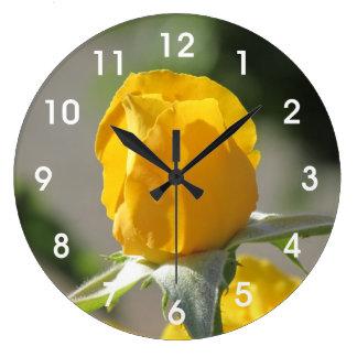 Yellow Rosebud Wallclocks