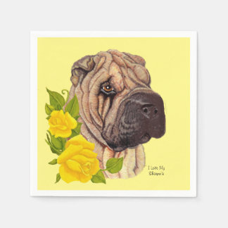 Yellow Roses and Chinese Shar-pei Disposable Napkin