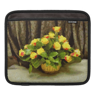 Yellow roses basket painting sleeves for iPads