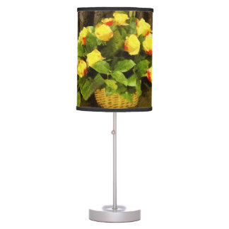 Yellow roses basket painting table lamp