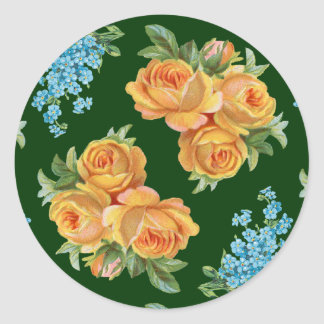 Yellow Roses Blue Flowers on Green Sticker