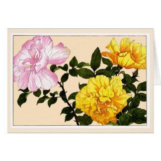 Yellow Roses, Botanical Art Card
