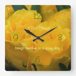 Yellow Roses Clock-personalize your way Square Wall Clock