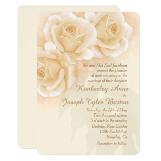 Yellow Roses & Eucalyptus 5x7 Wedding Invitation