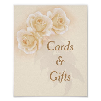 Yellow Roses & Eucalyptus 8x10 Card & Gifts Sign Poster