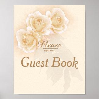 Yellow Roses & Eucalyptus 8x10 Guest Book Poster