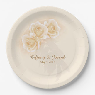 Yellow Roses & Eucalyptus Personalize Paper Plates 9 Inch Paper Plate