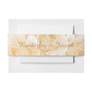 Yellow Roses & Eucalyptus  Wedding Belly Band Invitation Belly Band