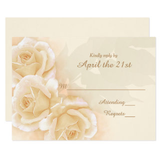 Yellow Roses & Eucalyptus  Wedding RSVP Card