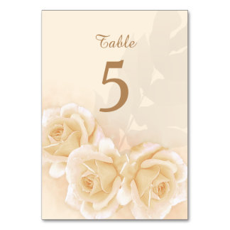 Yellow Roses & Eucalyptus Wedding Table Number Table Card