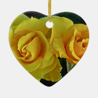 Yellow Roses Floating In Space Ceramic Ornament