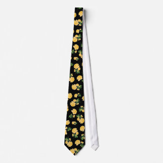 Yellow roses Floral pattern on black Tie