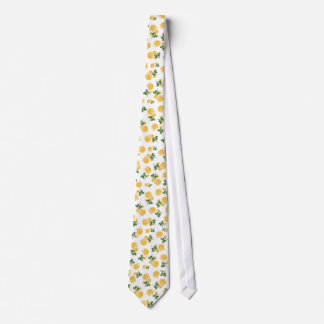 Yellow roses Floral pattern on white Tie