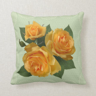 Yellow roses floral pillow