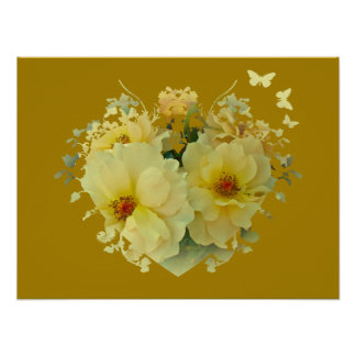 Yellow Roses Heart on Gold Poster