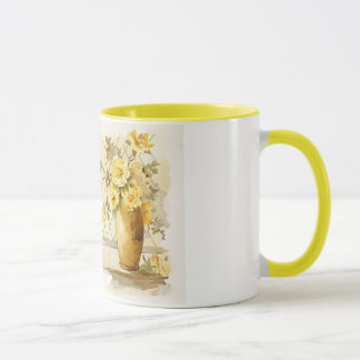 Yellow Roses in a Pottery Vase Mug