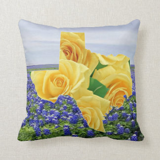 Yellow Roses In Shape Of Texas On Bluebonnets Throw Pillow