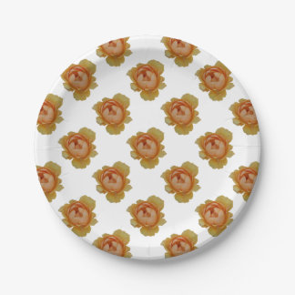 yellow roses in the garden paper plate