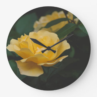 Yellow roses large clock