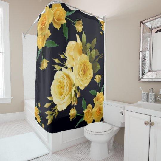 yellow roses on black