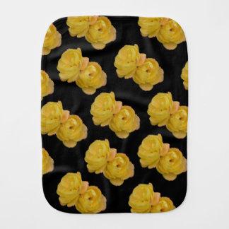 Yellow Roses On Black,_ Burp Cloth