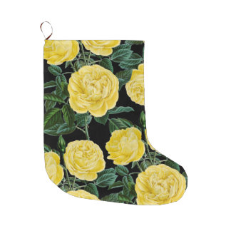 Yellow Roses On Black Large Christmas Stocking