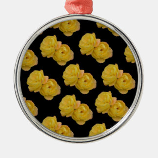 Yellow Roses On Black,_ Metal Ornament