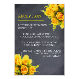 Yellow Roses on Chalkboard - Reception Invitation
