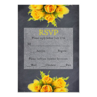 Yellow Roses on Chalkboard - RSVP Card