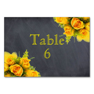 Yellow Roses on Chalkboard - Table Card