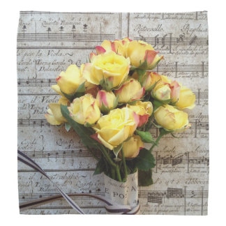 Yellow roses on old music bandannas